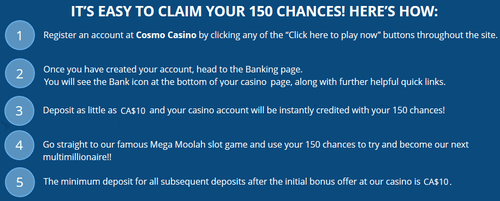 Cosmo Casino welcome bonus Canada