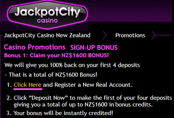 Jackpot City Casino New Zealand sign-up bonus