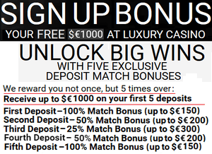 Luxury Casino sign-up bonuses