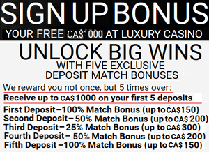 Luxury Casino sign-up bonuses, Canada