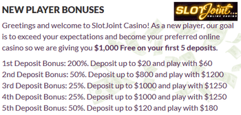 SlotJoint Casino sign-up bonuses
