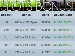 Slots Bonus at Sloto'Cash